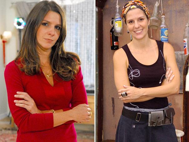 Georgiana Góes como a diretora Juliana, em 2009, e à direita na pele da produtora Taís do especial de fim de ano Programa Piloto