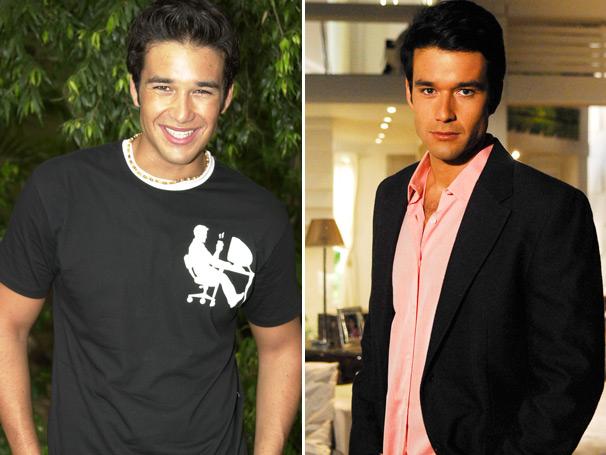 À esquerda, Sérgio Marone como Victor, em 2003, e como o galã Nicholas, de Caras & Bocas, em 2009