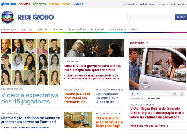 A nova página oficial da Rede Globo na internet está no ar com muitas novidades