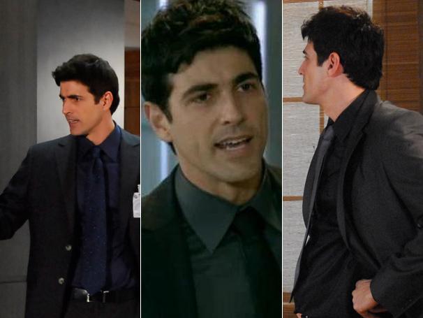 A camisa social azul, a gravata preta e o terno do vilão fazem sucesso entre os telespectadores da Rede Globo