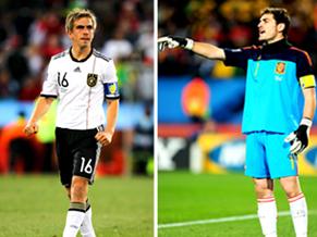 O lateral Philipp Lahm e o goleiro Casillas