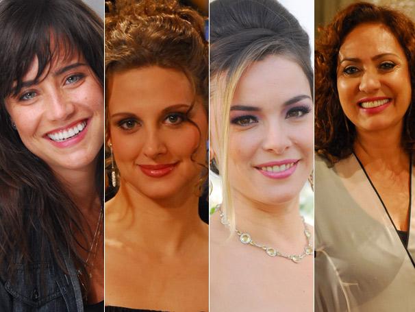Em Tempos Modernos, Nelinha (Fernanda Vasconcellos), Maureen, Goretti (Regiane Alves) e Helia (Eliane Giardini) têm os vestidos mais pedidos de junho