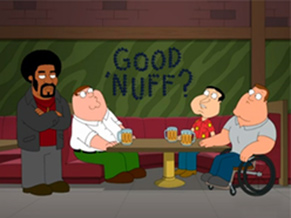 Peter, Joe e Quagmire conversam sobre Jerome