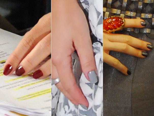 As unhas vinho da Risqué, na cor Licor de Suzana (Malu Mader); o esmalte cinza claro da Risqué, na cor Arábia, de Thaísa (Fernanda Souza); e a mistura fashion de Jaqueline (Claudia Raia)