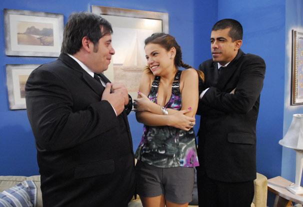 Pedrão (Marcius Melhem), Jorginho (Leandro Hassum) e Lilian (Milena Toscano)