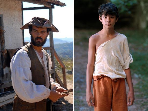 Carmo Dalla Vechia e Dyjhan Henrique já caracterizados para interpretar Silvério e Ezequiel