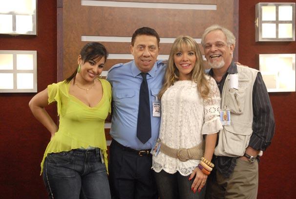 Severino (Paulo Silvino), diretor (Marcos Wainberg), Amanda (Amanda Pinheiro) e Desirée (Desiree de Oliveira)