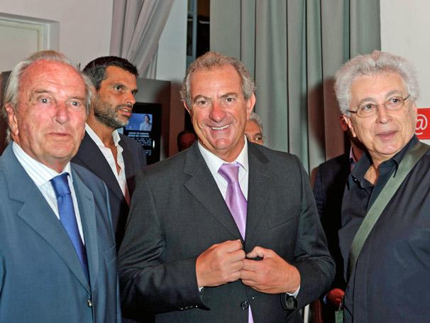 Francisco Pinto Balsimão, diretor da SIC, Antonio Parente, presidente da SP Televisão e Aguinaldo Silva