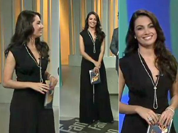 O macacão preto de Patrícia Poeta é um dos mais pedidos na Central de Atendimento ao Telespectador - Fale com a Globo