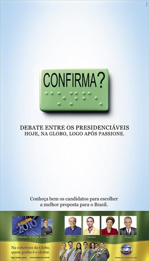 Anúncio debate Rede Globo