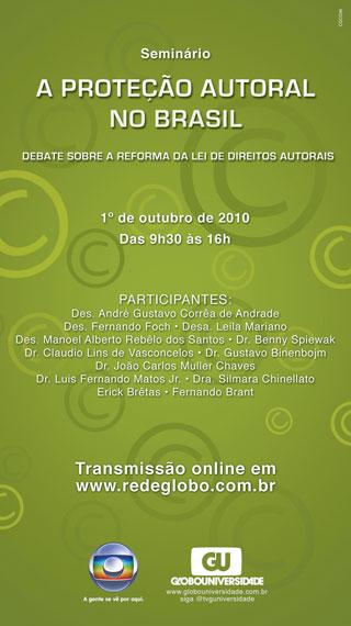 anúncio do seminário A proteção dos direitos autorais