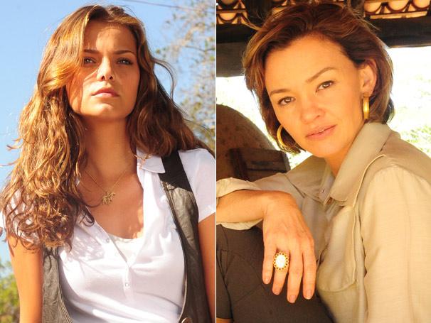 As superestilosas Manuela (Milena Toscano) e Amélia (Júlia Lemmertz) ditam tendências em Aragauaia