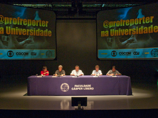 Thaís Itaqui, Caco Barcellos, professor Carlos Costa, Caio Cavechini e Thiago Jock