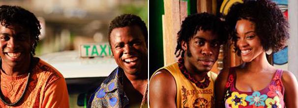 Lázaro Ramos é Roque, Érico Brás interpreta o taxista Reginaldo e Aline Nepomucemo é a namorada de Roque, Dandara