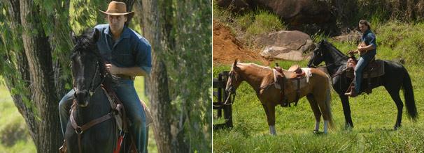 Solano (Murilo Rosa) procura Manuela (Milena Toscano) na região e encontra o cavalo da veterinária