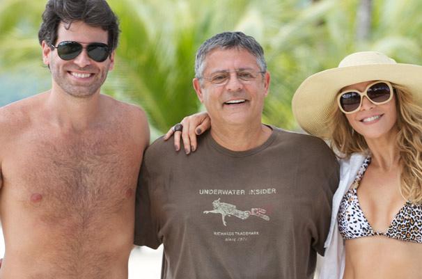 Mateus Rocha, Marcos Paulo e Christine Fernandes participam das gravações do especial Diversão.com em Angra dos Reis