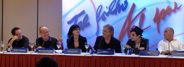 Ao lado dos diretores de Tal Filho, Tal Pai, Fiuk e Fábio Jr. explicam especial