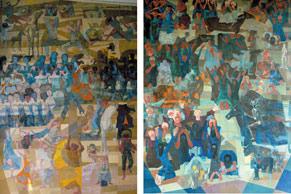 As telas do artista Cândido Portinari que compõem o mural Guerra e Paz e que estão expostas no prédio da Organização das Nações Unidas, em Nova York