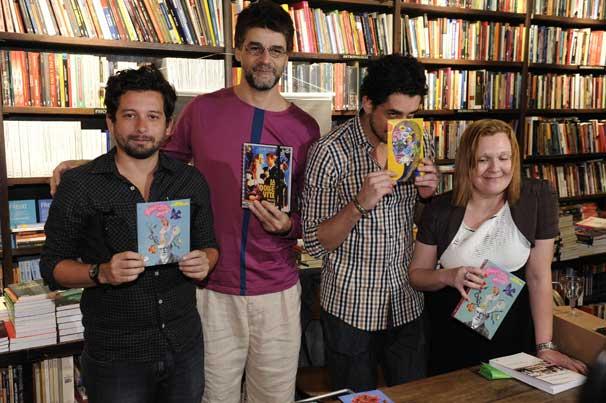 João Paulo Cuenca, Luiz Fernando Carvalho, Michel Melamed e Cecilia Giannetti no lançamento do livro