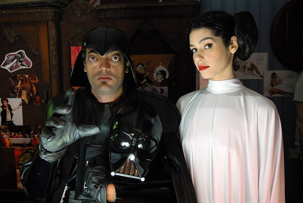 Fernando Caruso é Darth Vader e Maria Flor é a Princesa Leia (Foto: TV Globo / Alex Carvalho)