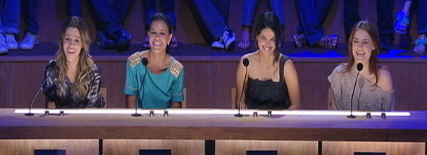 Ingrid Guimarães, Mariana Rios, Emanuelle Araújo e Alessandra Maestrini avaliam escolhas de Leandro Hassum (Foto: Divulgação/ TV Globo)