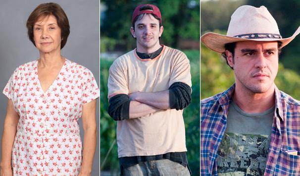 Dinorá (Ana Rosa) vive na fazenda com os filhos Daniel (Guilherme Nasraui) e Josué (Joaquim Lopes), que ajudam na lavoura (Foto: Bob Paulino/ TV Globo)