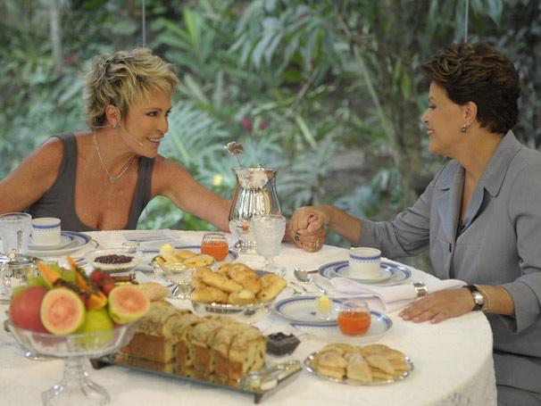 Ana Maria Braga recebe a presidente Dilma em um café da manhã no Mais Você (Foto: Divulgação/ TV Globo)