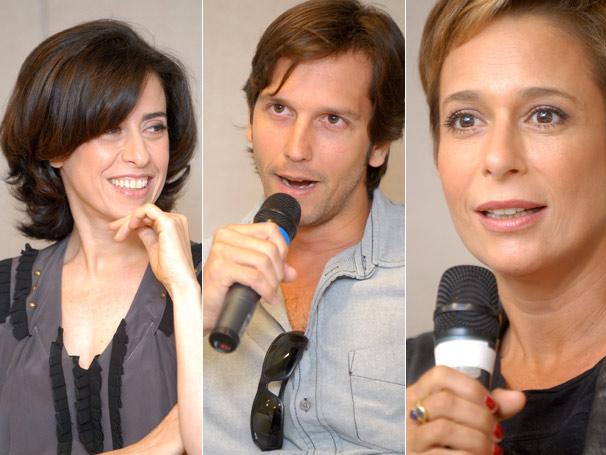 Fernanda Torres, Wladimir Britcha e Andréa Beltrão falam sobre as gravações (Foto: TV Globo/ Márcio Nunes)