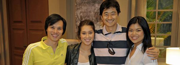 Marcos Miura ( Shiro ) , Luana Tanaka ( Keiko ) , Chao Chen ( Akira ) e Camila Chiba ( Hoshi ) (Foto: TV Globo/ Renato Rocha Miranda)