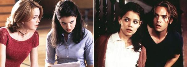 Jo Lynn Jordan (Marisa Coughlan) incentiva Leigh (Katie Holmes) a pegar a prova de história e , Luke Churner (Barry Watson) apoia a amiga na casa da professora Eve Tingle (Foto: Divulgação)