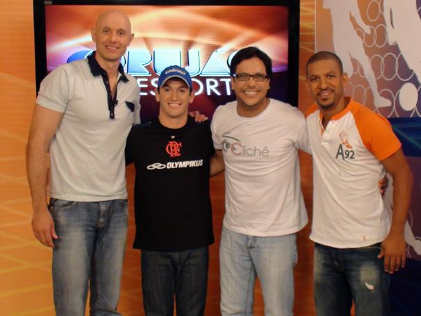 Nesta sexta, dia 18 Tande recebe Lúcio Mauro Filho, Diego Hypólito e Djalminha (Foto: TV Globo/ Thais Padua)