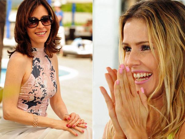 Eunice ( Deborah Evelyn) e Natalie (Deborah Secco) fazem sucesso com seus tons de rosa (Foto: TV Globo)