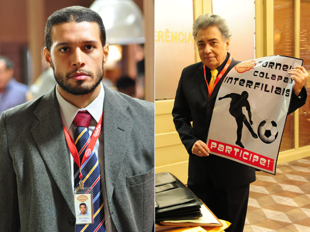 Empolgado com o campeonato, Guilherme (Pedro Paulo Rangel) contrata Bina ( Hugo Resende ) (Foto: TV Globo /  Estevam Avellar/ João Miguel Júnior)