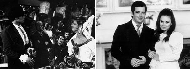 Tarcísio Meira e Glória Menezes em Sangue e Areia (1967) e Cláudio Marzo e Regina Duarte em Véu de Noiva (1969) (Foto: CEDOC/ TV Globo)