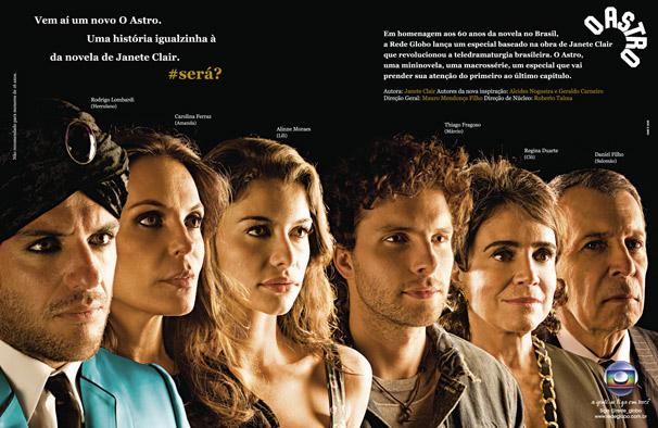 Rodrigo Lombardi, Carolina Ferraz, Alinne Moraes, Thiago Fragoso, Regina Duarte e Daniel Filho estão na campanha de divulgação de O Astro (Foto: TV Globo)