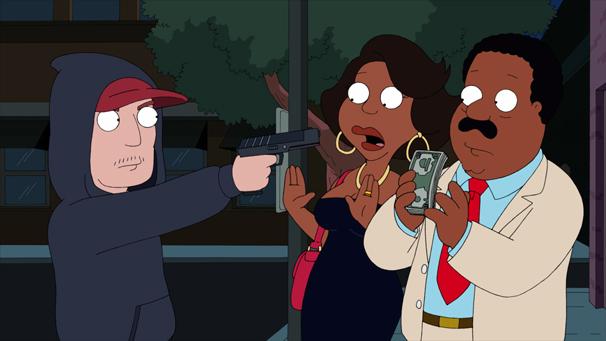 The Cleveland Show - Donna e Clevenad são assaltando em um caixa eletrônico (Foto: Divulgação)
