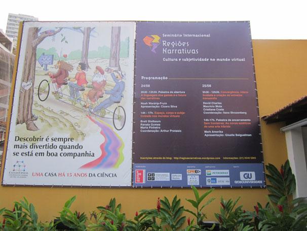 O seminário acontece no auditório da Casa da Ciência (Foto: Divulgação)