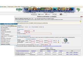 Formulário da SISBIO (Foto: Reprodução)