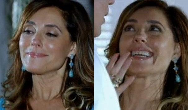 Tereza Cristina (Christiane Torloni) abusa dos brilhos e acessórios chamativos (Foto: Reprodução)