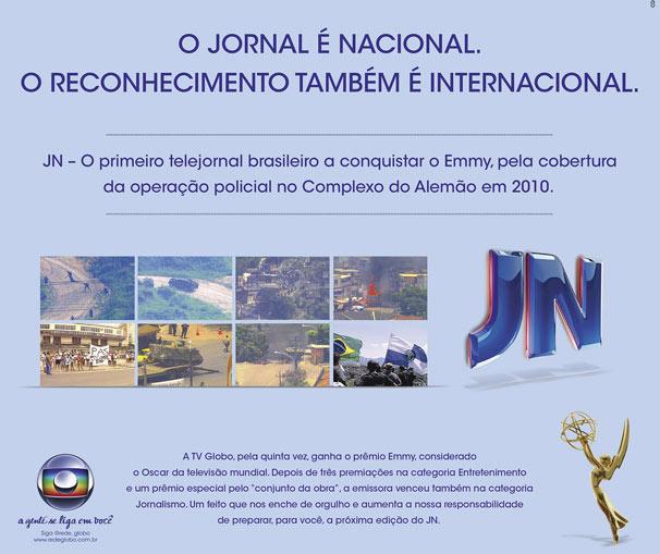 Peça publicitária sobre o prêmio conquistado pelo Jornal Nacional no International Emmy Awards (Foto: Divulgação/ TV Globo)