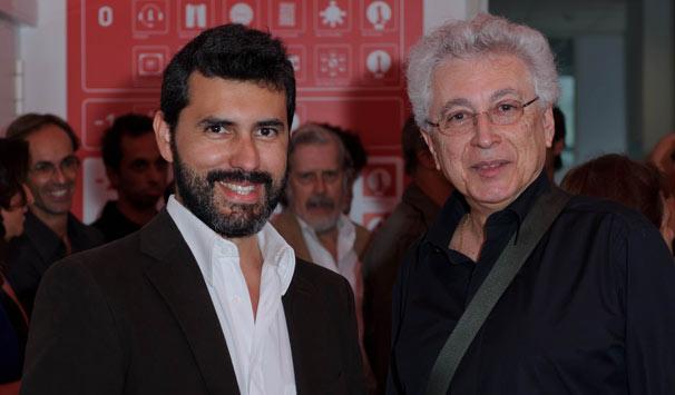Aguinaldo Silva e Pedro Lopes, autor de Laços de Sangue (Foto: Luiz Pinto Ribeiro/ TV Globo)