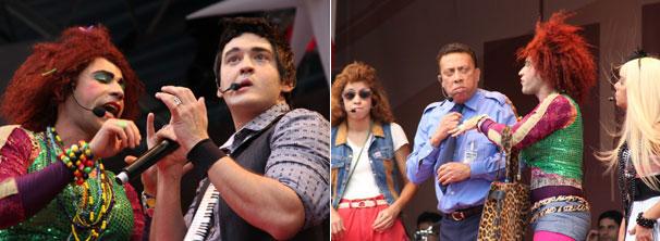 Janete, Valéria, Ruan Santana, Severino e Vanessa aprontam todas no palco (Foto: TV Globo / Camila Crespo)