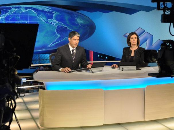 William Bonner e Fátima Bernardes gravam filme da campanha institucional (Foto: TV GLOBO / João Cotta)