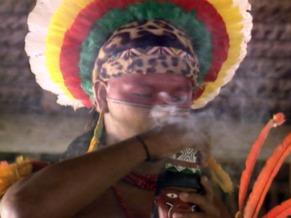 Ritual dos índios Pataxó no Globo Ecologia O Bem Comum - Porto Seguro (Foto: Reprodução de TV)