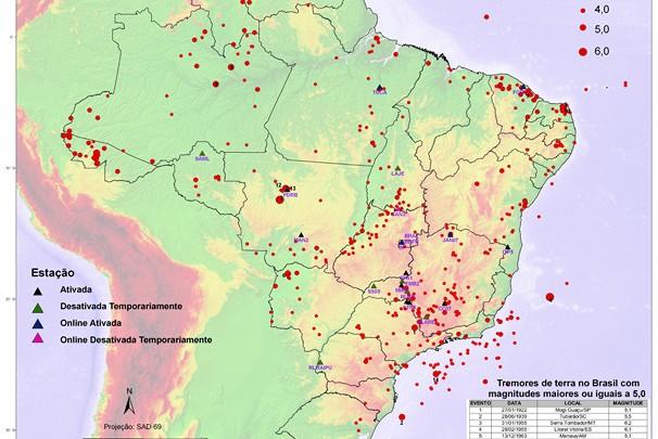 Mapa da Sismicidade Brasileira (Foto: Divulgação / Observatório Sismológico)