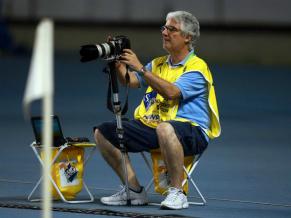 Rudy Trindade em cobertura de jogo  (Foto: Divulgação/ Carlos Moraes)