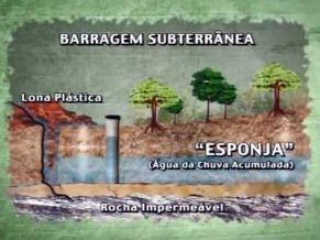 Barragem subterrânea no Globo Ecologia (Foto: Reprodução de TV)
