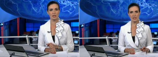 Blusa branca, transpassada, com babado na gola  (Foto: Reprodução/ TV Globo)