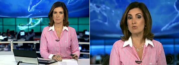Fátima Bernardes camisa rosa com listras brancas (Foto: Reprodução/ TV Globo)