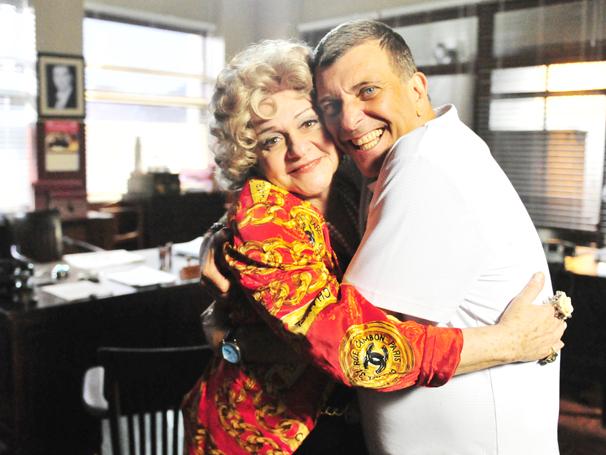 Fafy Siqueira e Jorge Fernando gravam minissérie (Foto: TV Globo / João Miguel Júnior)